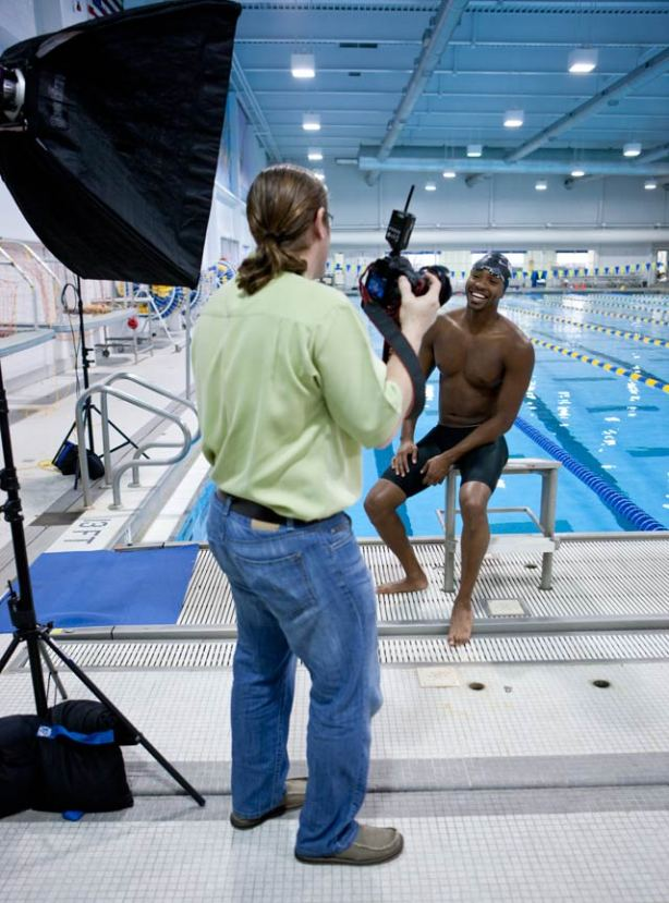 Cullen Jones takes time to have a good laugh with Kent Smith.